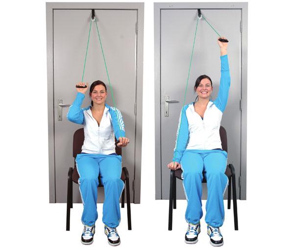 Вправа підняття та опускання рук сидячи перед собою